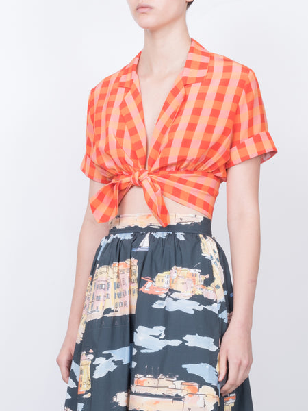 THE CARLES CROP BLOUSE - GINGHAM RED ORANGE PEACH
