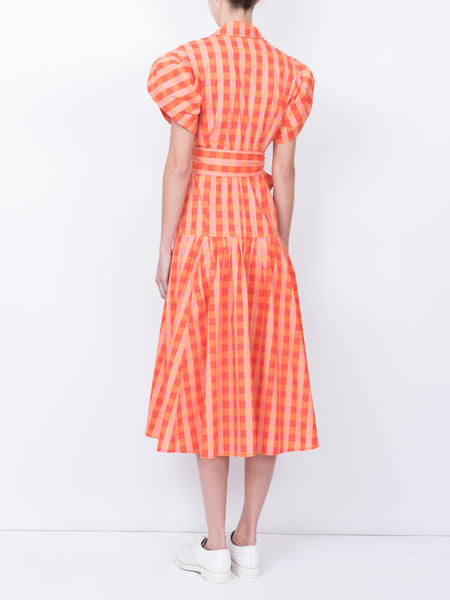 THE CHATEAU DRESS - GINGHAM RED ORANGE PEACH