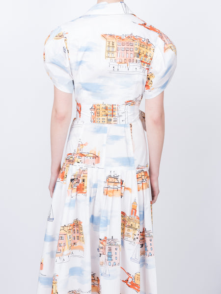THE CHATEAU DRESS - ST TROPEZ LANDSCAPE WHITE