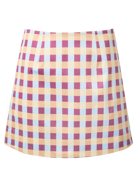 THE CITADELLE SKIRT - GINGHAM BLUE PLUM YELLOW