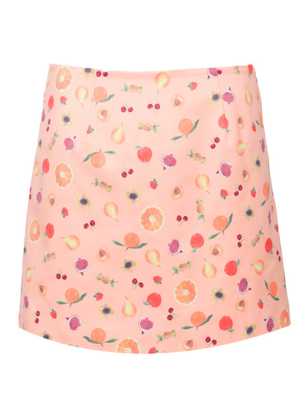 THE CITADELLE SKIRT - MINI FRUIT PRINT PEACH