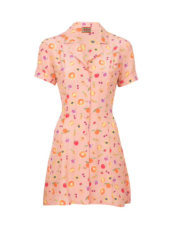 THE CLEMENCEAU DRESS - MINI FRUIT PRINT PEACH