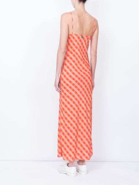 THE ELVIRA SLIP DRESS - GINGHAM RED ORANGE PEACH