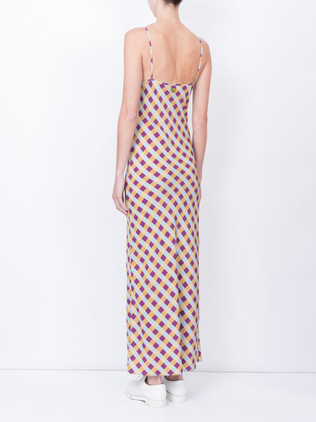 THE ELVIRA SLIP DRESS - GINGHAM BLUE PLUM YELLOW