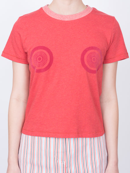 THE LHD FLOCKED LOGO T-SHIRT - RED