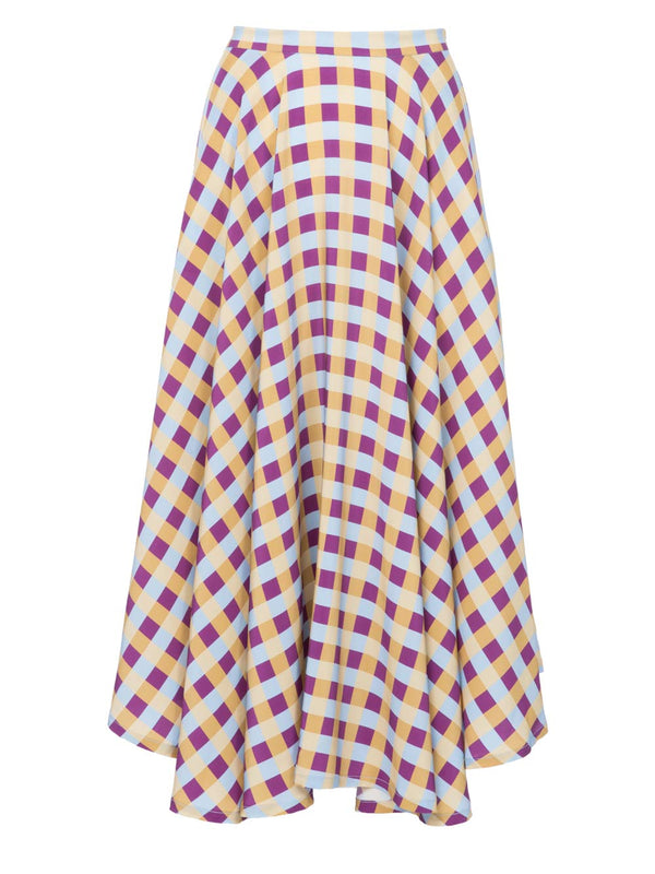 THE FRENCH RIVIERA SKIRT - GINGHAM BLUE PLUM YELLOW