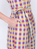 THE HIBISCUS JUMPSUIT - GINGHAM BLUE PLUM YELLOW