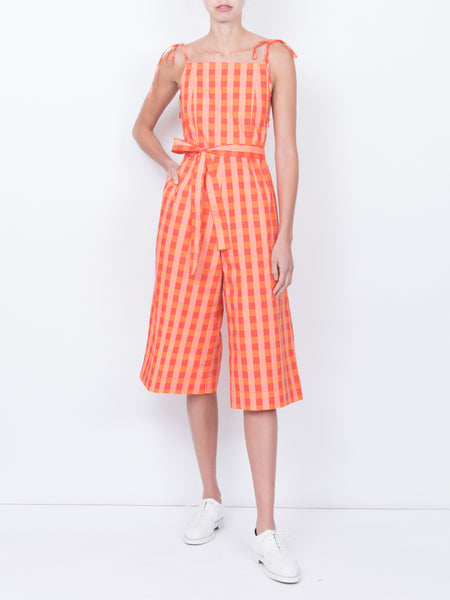 THE HIBISCUS JUMPSUIT - GINGHAM RED ORANGE PEACH