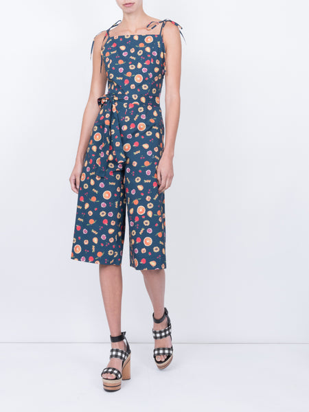THE HIBISCUS JUMPSUIT - MINI FRUIT PRINT NAVY