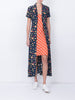 THE MARLIN DRESS - MINI FRUIT PRINT NAVY + GINGHAM RED ORANGE PEACH
