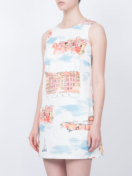 THE MARRES DRESS - ST TROPEZ LANDSCAPE WHITE