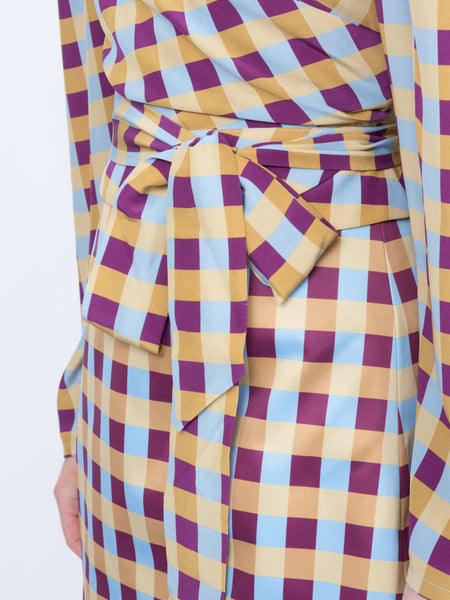 THE ODALYS BLOUSE - GINGHAM PRINT BLUE PLUM YELLOW