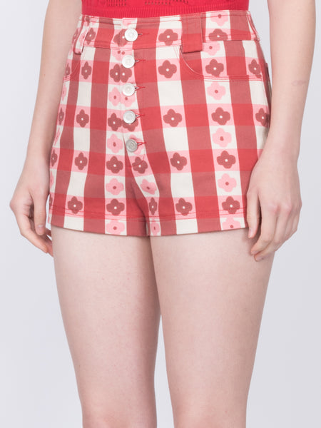 THE PEARL BEACH SHORTS - GINGHAM WITH FLOWERS RED
