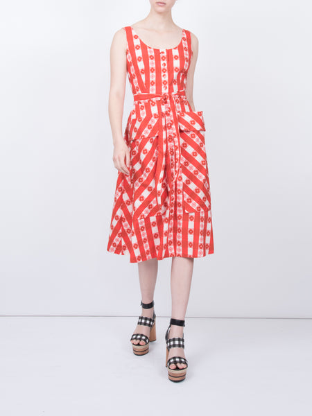 THE RAMATUELLE DRESS - GINGHAM WITH FLOWERS RED