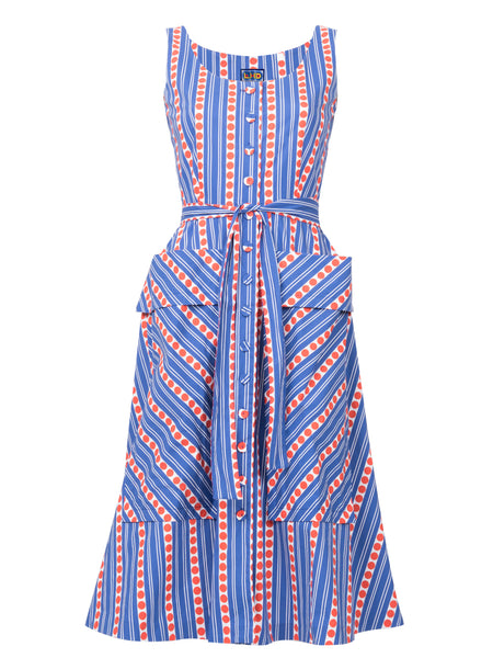THE RAMATUELLE DRESS - STRIPES AND DOTS BLUE