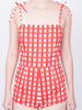 THE SAINTE-MAXIME BODYSUIT - GINGHAM WITH FLOWERS RED