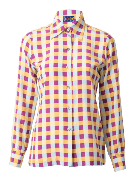 THE STAR ISLAND BLOUSE - GINGHAM BLUE PLUM YELLOW