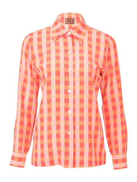THE STAR ISLAND BLOUSE - GINGHAM RED ORANGE PEACH