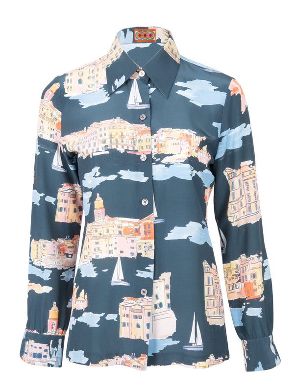THE STAR ISLAND BLOUSE - ST TROPEZ LANDSCAPE NAVY
