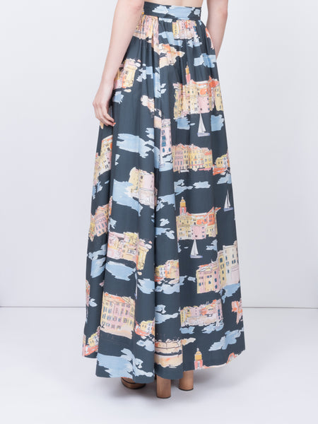 THE VIEUX SKIRT - ST TROPEZ LANDSCAPE NAVY