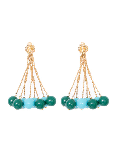 LHD X AURELIE BIDERMANN PALAZZO EARRINGS - GREEN + BLUE