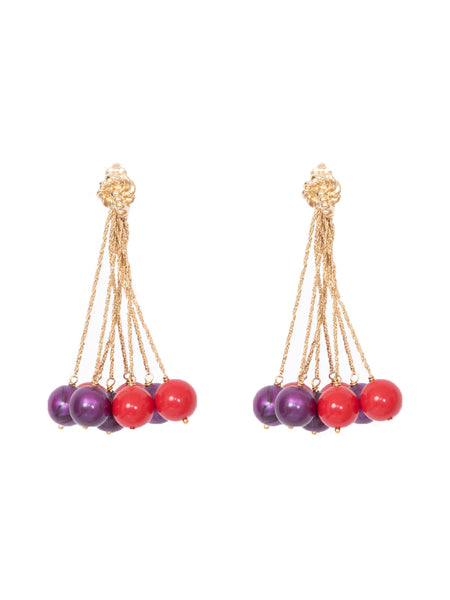LHD X AURELIE BIDERMANN PALAZZO EARRINGS - RED + PURPLE