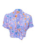 THE CARLES CROP BLOUSE - CAREYES FLORAL PRINT MAUVE