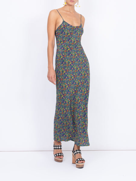 THE ELVIRA SLIP DRESS - CAREYES QUIRKY PRINT NAVY