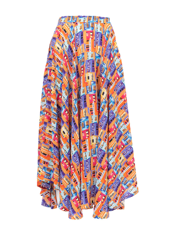 THE FRENCH RIVIERA SKIRT - CAREYES VILLAS PRINT BRIGHTS