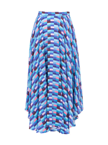 THE FRENCH RIVIERA SKIRT - CHECKS BLUES
