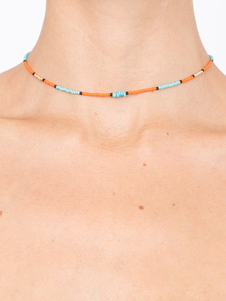 LHD X BUNNY SHAPIRO MAYA SUNSET CHOKER - ORANGE