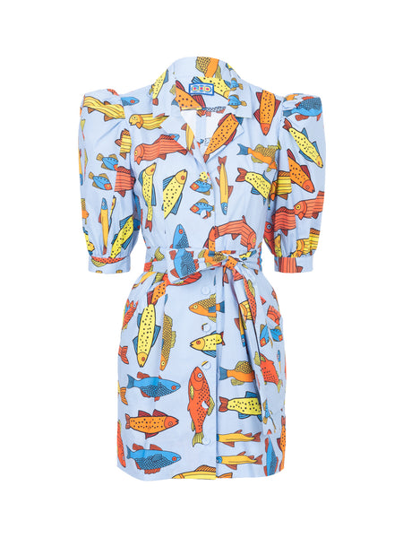 THE CASITAS DRESS - BLUE CORSICAN TROUT