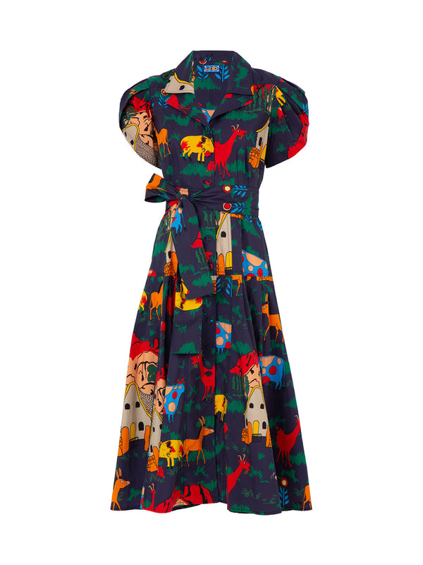 THE GLADES DRESS - NAVY QUIRKY FARM ANIMALS