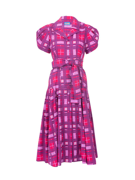 THE GLADES DRESS - PURPLE PLAID LARGE