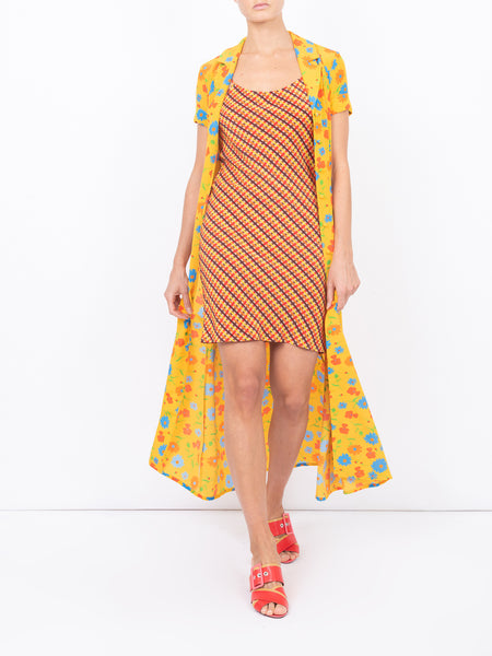 THE MARLIN DRESS - SUNNY FLORAL + BROWN COUNTRY GINGHAM