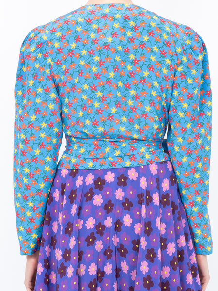 THE ODALYS BLOUSE - AQUA FIELD FLOWER