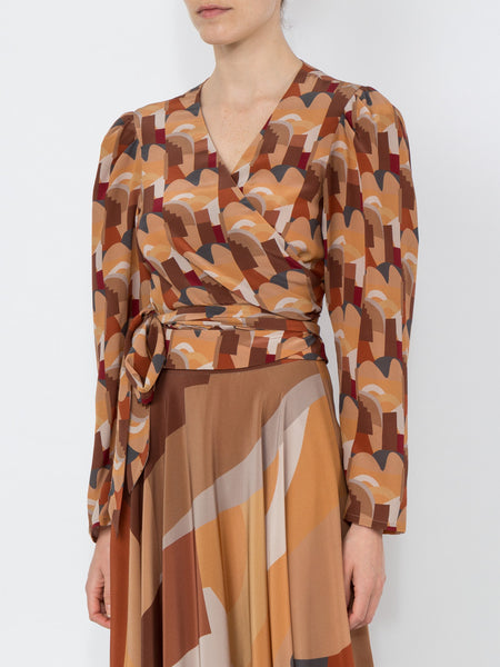 THE ODALYS BLOUSE - BONIFACIO ABSTRACT HOT HEAT