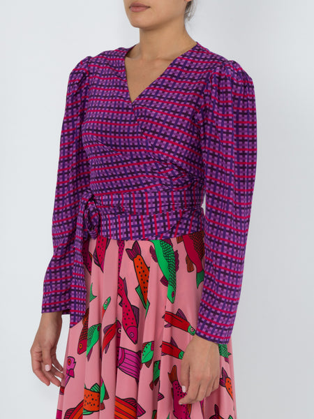 THE ODALYS BLOUSE - PURPLE COUNTRY GINGHAM
