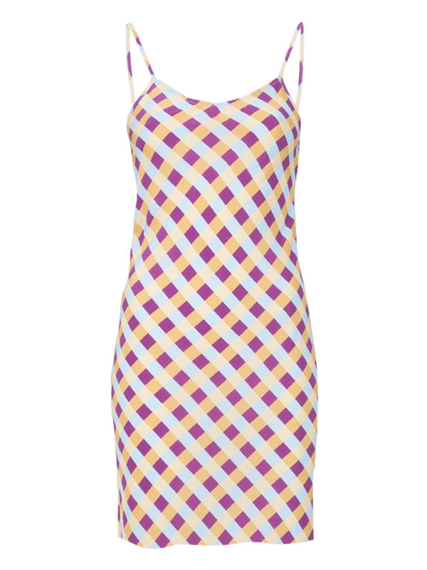 THE WYNWOOD SLIP DRESS - GINGHAM BLUE PLUM YELLOW