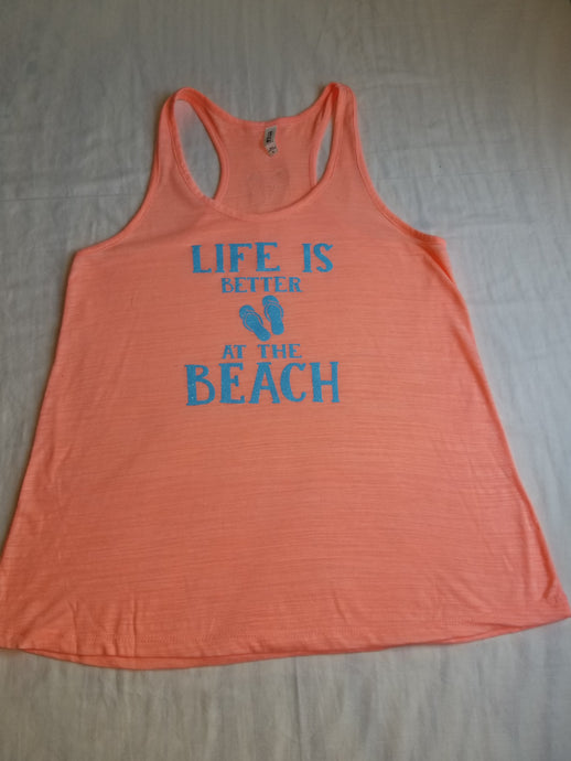 Life is Better ladies flowy beach racerback tank