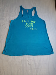 Lake Hair Don't Care ladies flowy beach racerback tank
