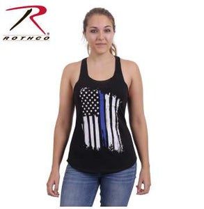 Women Thin Blue Line Flag Racerback Tank Top