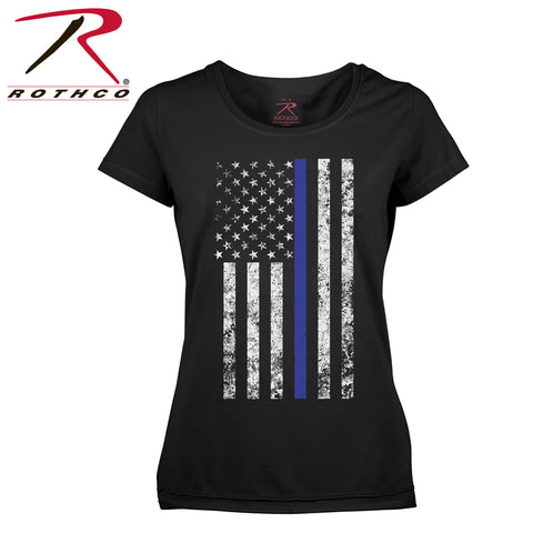 Women's Thin Blue Line Flag Long Length T-Shirt