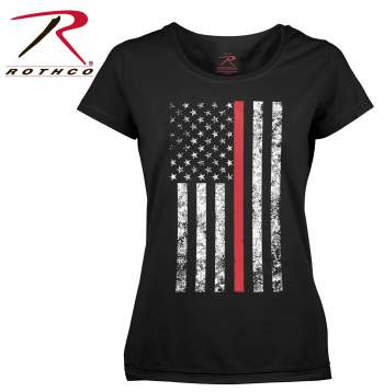 Women's Thin Red Line Flag Long Length T-Shirt