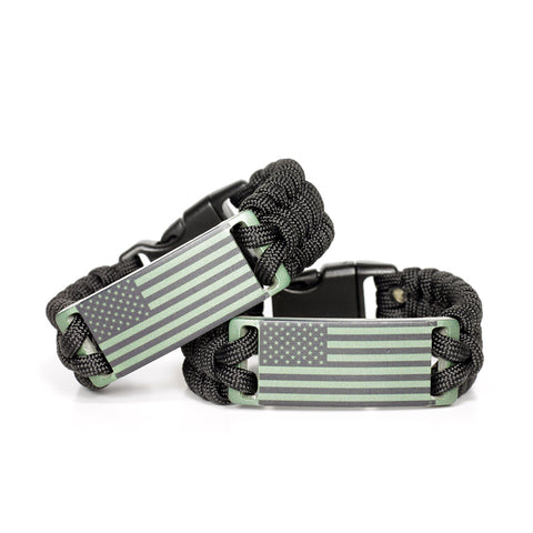 OD Green Anodized American Flag Paracord Wristband