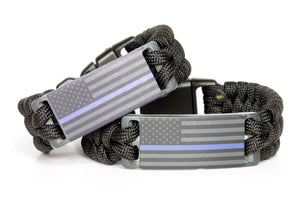 Thin Blue Line Anodized American Flag Paracord Wristband
