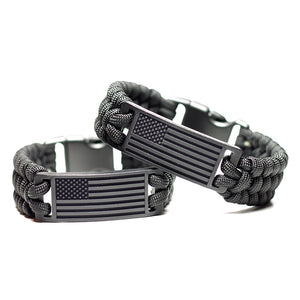 Engraved American Flag Paracord Wristband
