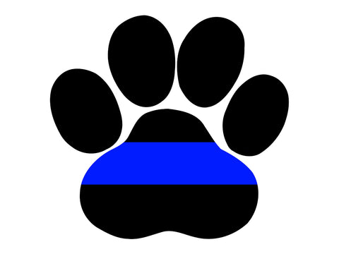 Thin Blue Line K-9 Paw Print Decal