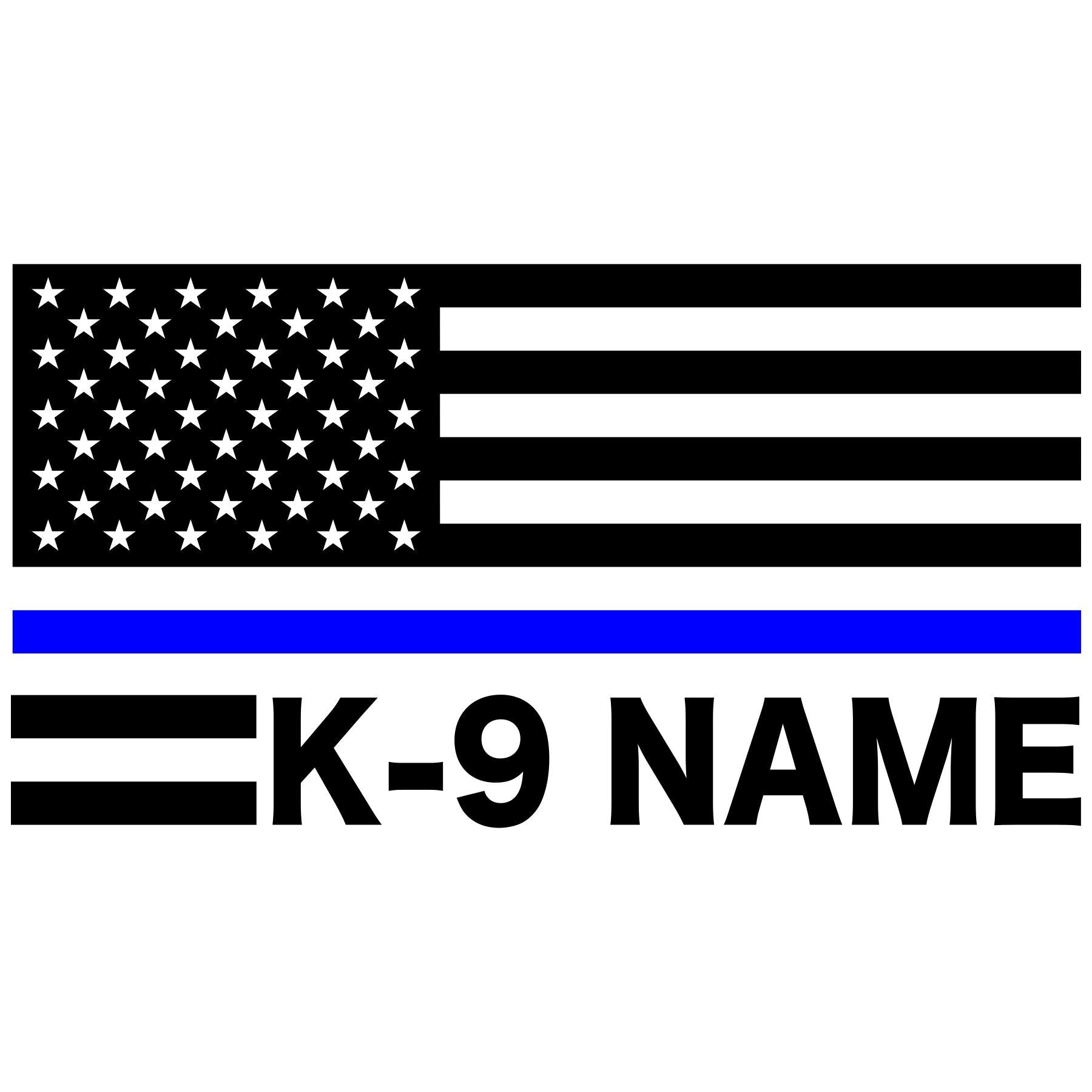 Thin Blue Line American Flag Custom K-9 Decal