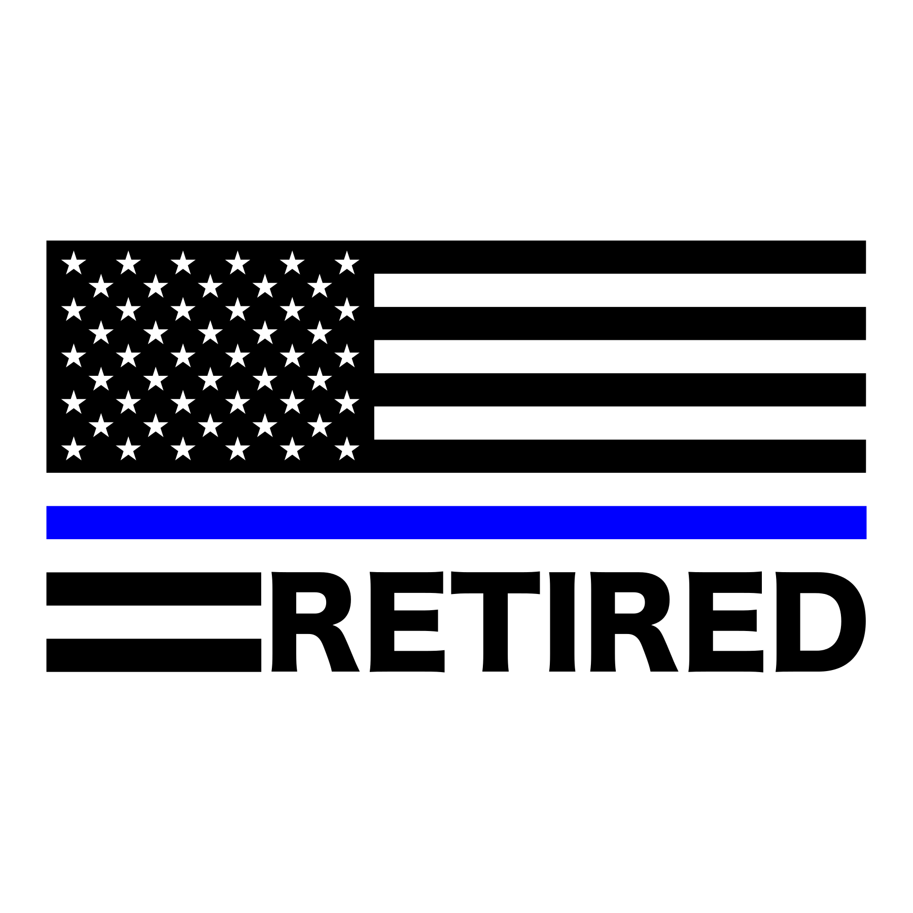 Thin Blue Line Retired American Flag Decal